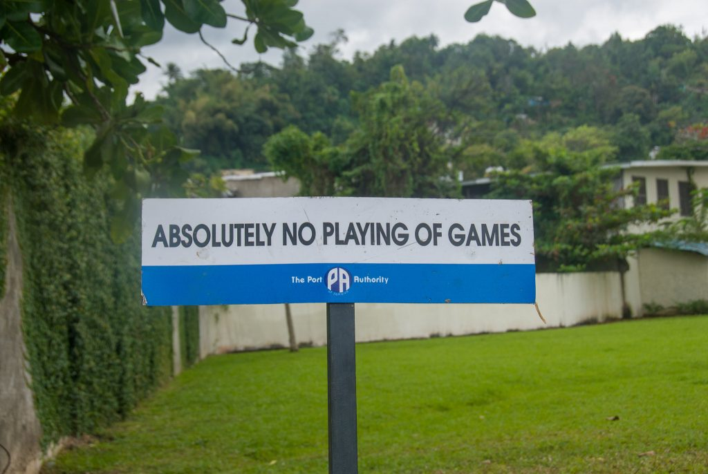 street sign, no playing of games